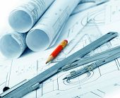 The Plan Industrial Details, A Protractor, Caliper, Divider And A Red Pencil