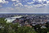 Panorama Of Budapest Over The Danube River. The Bridges Destroyed In World War Ii Touch The Two Part poster