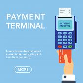 Vector Payment Machine And Credit Card Banner. Pos Terminal Confirms The Payment By Debit Credit Car poster