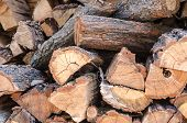 Pile Of Stacked Triangle Firewood Prepared For Fireplace And Boiler. Background With Pile Of Firewoo poster
