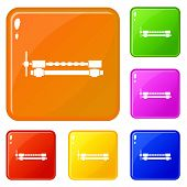 Blacksmiths Clamp Icons Set Collection 6 Color Isolated On White Background poster