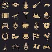 Eiffel Tower Icons Set. Simple Set Of 25 Eiffel Tower Icons For Web For Any Design poster