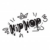 Hip Hop Icon. Simple Illustration Of Hip Hop Icon For Web Design Isolated On White Background poster