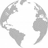 stock photo of world-globe  - Vector illustration of world globe with square dots - JPG