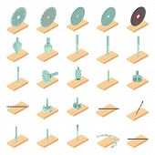 Lumber Mill Icons Set. Isometric Set Of 25 Lumber Mill Icons For Web Isolated On White Background poster