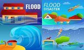 Flood Disaster Banner Set. Cartoon Illustration Of Flood Disaster Banner Set For Web Design poster