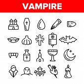 Protection From Vampire Vector Linear Icons Set. Weapons Vampire Hunter Outline Cliparts. Halloween  poster