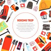 Hiking Trip Banner Template With Place For Text And Expedition Equipment Pattern, Camping And Mounta poster