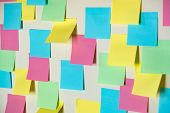 Sticky Paper Notes On A Planning Board. Planning, Brainstorm, Diversity Or Fresh Ideas Concept - Pat poster