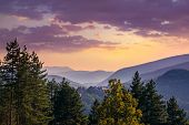 Sunset In Mountain Landscape. Mountain Layers In Sunset. Sunset In The Mountain Forest Landscape. Fo poster