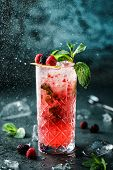 Fresh Berries Cocktail With Raspberry, Mint And Ice In Jar Glass On Dark Blue Background. Studio Sho poster