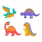 Set Of Colorful Dinosaurs In Beautiful Style On White Background. Cute Cartoon Dino Design. Happy Sm poster