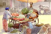 vegetable seller in watercolor