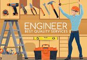 Home Repair Service, Engineer With Renovation And House Remodeling Hand Tools. Vector Handyman Profe poster