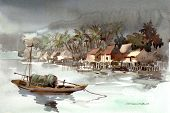 fishing village watercolor