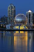 foto of geodesic  - geodesic dome of science world vancouver night scene - JPG