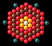 Colorful Snooker Balls Arrange In Hexagonal Shape