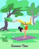 Summer Time Vertical Banner Beautiful Woman In Yoga Asana Pose Of Scorpio On Nature Landscape Backgr poster