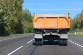 Heavy truck on straight road
