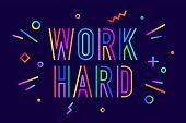 Work Hard. Poster Banner With Text Work Hard For Emotionwork Hard. Poster Banner poster