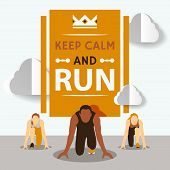 Start To Run Race Vector Illustration. Running Competition. Cartoon Character. Starting Line. Group  poster