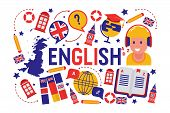 British English Language Learning Class Vector Illustration. Brittish Flag Logo, England, Dictionary poster