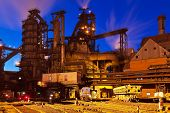 pic of blast-furnace  - Blast furnace equipment of the metallurgical plant at night - JPG