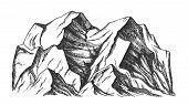 Summit Of Mountain Landscape Monochrome Vector. Mountain Rock Peak Discovery Adventure Wilderness Pl poster