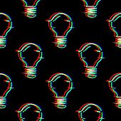 Vector Seamless Pattern With Light Bulb Line Symbol In Glitch Style. Electric Lamp. Icon Of Idea Iso poster