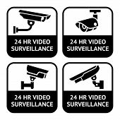 CCTV labels, set symbol security camera pictogram