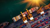 Logistics And Transportation Of Container Cargo Ship And Cargo Plane With Working Crane Bridge In Sh poster