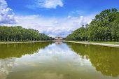 Reflecting Pool Reflection Abraham Lincoln Statue Memorial Columns Monument Washington Dc. Dedicated poster
