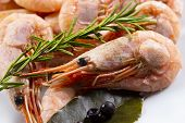 Boiled Shrimp Prawn Whole With Spices, Close-up. Pink Shrimps With A Sprig Of Thyme, Peppercorns And poster