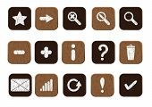 wooden icons set white