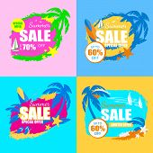 Summer Sale Banners Set With Palm Trees, Yacht, Starfish, Surf Board, Slippers, Starfish, Tag, Icon  poster