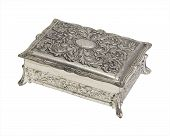 Vintage Silver Finish Jewelry Box
