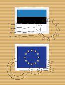 Estonia And Eu - Stamps With Flag