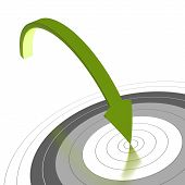 stock photo of objectives  - Green arrow reaching the center of a grey target and reaching the objective - JPG