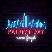 New York City Skyline With Twin Towers In Neon Style. World Trade Center. 09.11.2001 American Patrio poster