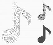 Mesh Musical Note Model With Triangle Mosaic Icon. Wire Carcass Triangular Mesh Of Musical Note. Vec poster
