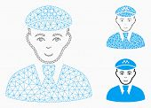 Mesh Taxi Driver Model With Triangle Mosaic Icon. Wire Carcass Triangular Network Of Taxi Driver. Ve poster