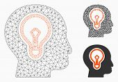 Mesh Idea Bulb Model With Triangle Mosaic Icon. Wire Carcass Polygonal Mesh Of Idea Bulb. Vector Mos poster