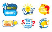 Set Of Did You Know Badges Set With Megaphone, Light Bulb, Question Marks Icons, Social Media Market poster