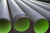 Large Corrugated Pvc Pipes For Drainage. Corrugated Water Pipes Of Large Diameter Prepared For Layin poster
