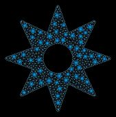 Glossy Mesh Navigator Star With Glitter Effect. Abstract Illuminated Model Of Navigator Star Icon. S poster