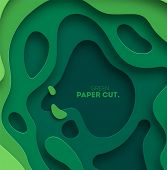 3d Abstract Background With Green Paper Cut Shapes. Vector Design Layout For Business Presentations, poster