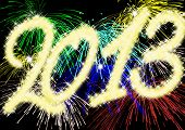 image of happy new year 2013  - New Year 2013 as a illustration with fireworks - JPG