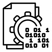 Malicious Code In Action Icon. Outline Malicious Code In Action Icon For Web Design Isolated On Whit poster