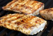 stock photo of mahi  - Mahi on the grill at a cookout - JPG