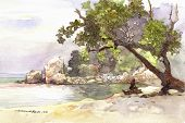 beach scene watercolor